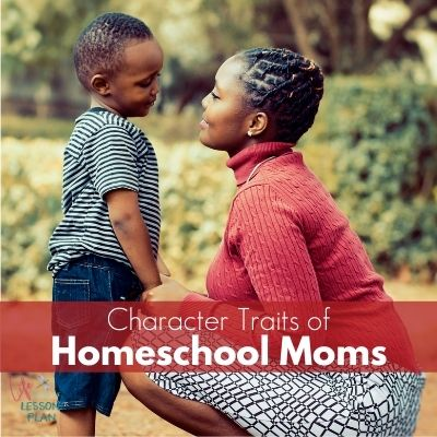 homeschool mom bending down to talk with her son