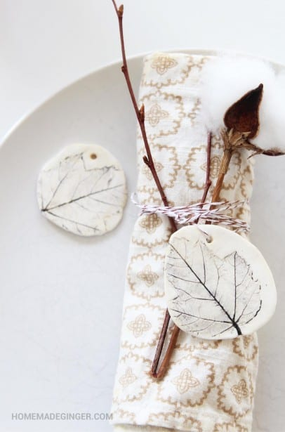 Make Clay Gift Tags with Pressed Leaves